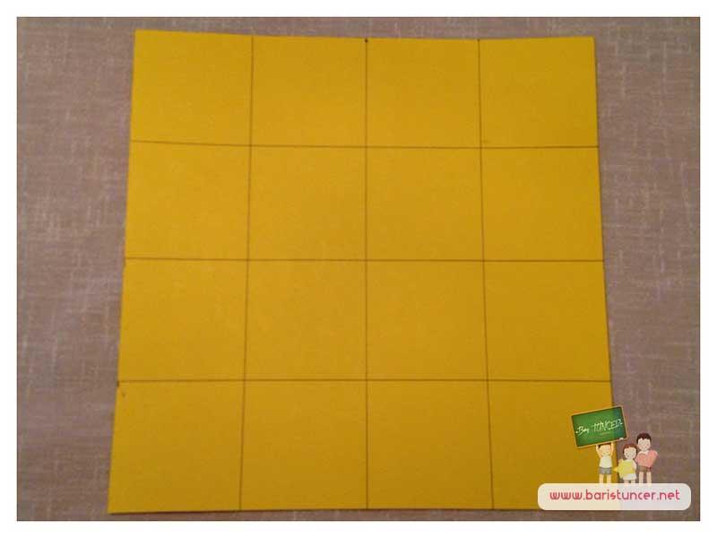 Kartonumuzda fazlalık kısmı varsa bunları keselim ve sudokumuzun alt tabanını hazırlayalım.