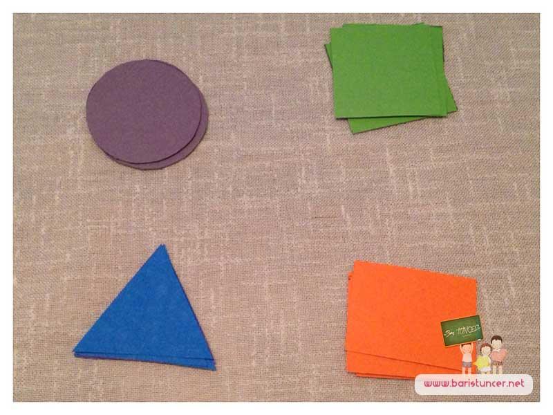 Sudokunun sembolleri için daire, üçgen, kare ve dikdörtgen şekilleri keselim.