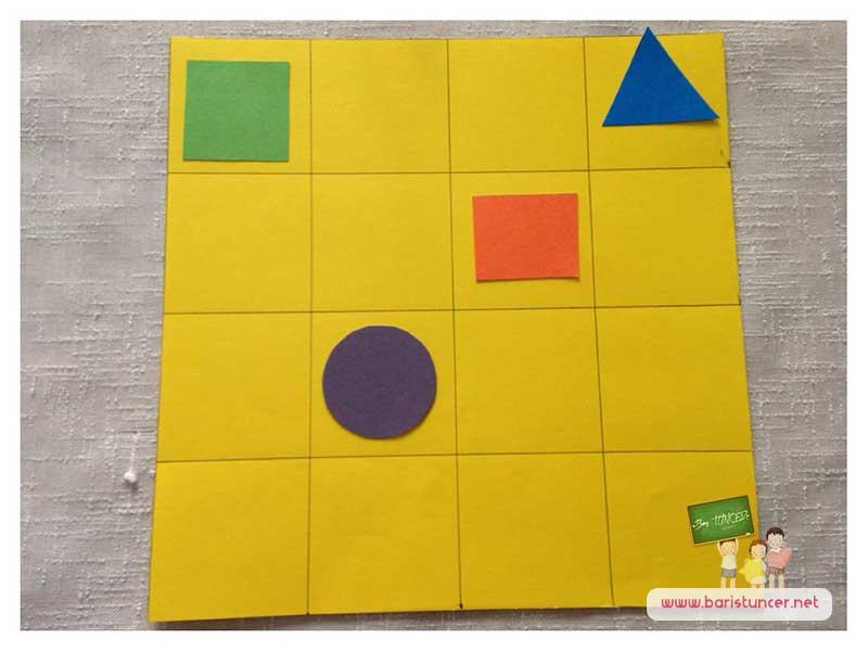 Şekiller hakkında çocuklarla sohbet edip birkaç kutuyu sembollerle dolduralım ve gerisini çocukların tamamlamasını sağlayalım.