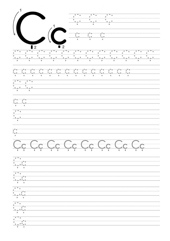 Ç Harfi Dik Temel Harfler Çalışma Sayfaları