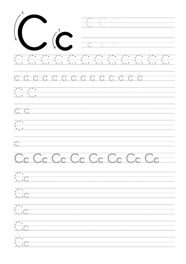 C Harfi Dik Temel Harfler Çalışma Sayfaları