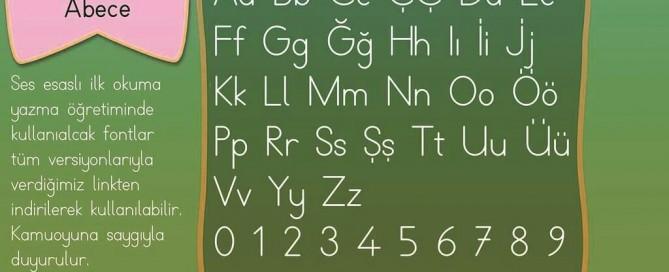 Dik Temel Harfler Abece Yazı Fontu